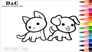 How to Colouring Pages Cat & Dog ✿ Coloring Animals Learning ...