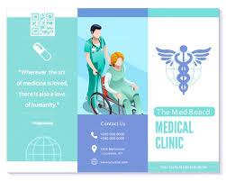 Trifold Brochure Medical Clinic Blue Vector Basic Template Layou