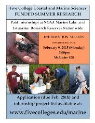 event calendar info session summer internships the  info session summer internships the 5 college coastal and marine sciences program rescheduled