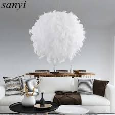 Pom Pom Pendant Light Us 26 83 20 Off Modern Romantic Luxury White Pink Color Feather Pendant Light Lamp Marriage Room Clothing Store Bedroom Dining Room Pendant Lamp In