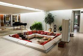 Living Room:Modern Unique Living Room Inground Design Ideas With Brown  Textured Wood Floor And