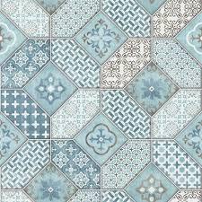 botanic moroccan tile wallpaper blue