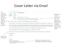 Sending Resume And Cover Letter Via Email Sample Email Message For