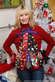 a woman wearing an ugly sweater made out of ties