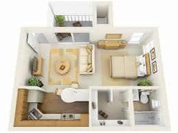 3D Floor Plans for Efficiency Apartments