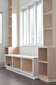 framed window seat bookcase built ins