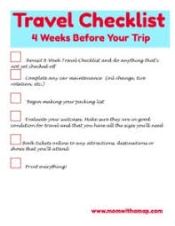 Travel Checklist 4 Weeks Mom With A Map Travel With Family