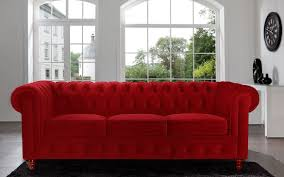 Amazon.com: Divano Roma Furniture Velvet Scroll Arm Tufted Button  Chesterfield Style Sofa, Red: Kitchen & Dining