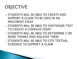 english iv  students will be able to create and support a claim  2  students