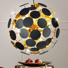 Luxus Hänge Decken Leuchte Esszimmer Strahler Pendel Lampe Schwarz Gold Trio Leuchten 309900632