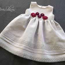 Eco-friendly baby girls party dress 12 up 18 month Gray linen lace Burgundy  red