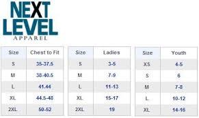 Next Level Raglan Shirt Size Chart Next Level Clothing Size Chart 2019