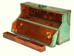 wooden tool box etsy. antique rustic wooden carpenters toolbox: large industrial green - blue trunk or utility chest with fold-down sides tool, hardware storage tool box etsy