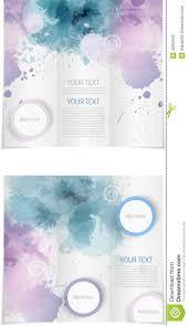 030 Tri Fold Brochure Template Paint Splashes Blue Purple