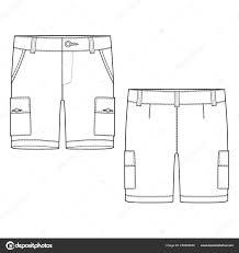 Shorts Design Template Pants Template Technical Sketch Cargo Shorts Pants Design