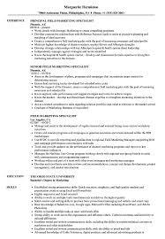 Marketing Specialist Sample Resume Field Marketing Specialist Resume Samples Velvet Jobs S Sevte 19