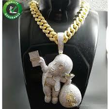 whole iced out pendant hip hop bling chains jewelry men gold necklace luxury designer diamond cuban link cartoon mario money bag rapper dj charms