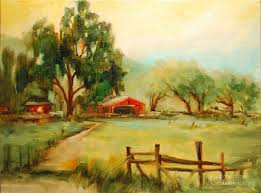 the red barn california landscape oil painting