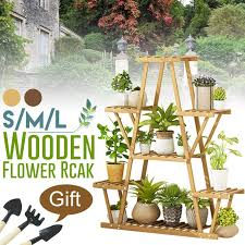 3 tier wooden plant stand flower