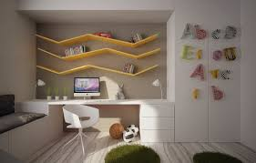 coolest kids bedroom design with wooden study desk in white lacquer finishing under yellow finish floating biege study twin kids study room