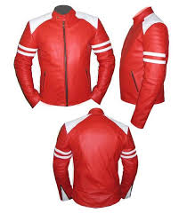 stylish mens red white soft leather jacket size