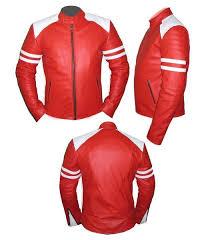 stylish mens red white soft leather jacket size