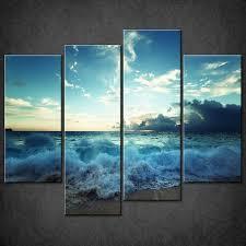 sea blue sky beach split canvas wall art