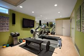 home gym lighting. exercise gym home midcentury with workout room pot lights green walls lighting o