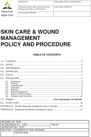 Skin Care Wound Management Policy And Procedure Pdf Free
