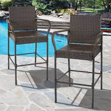 best choice s set of 2 outdoor brown wicker barstool outdoor patio furniture bar stool com