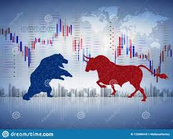 Abstract Financial Chart With Bulls And Bear In Stock Market