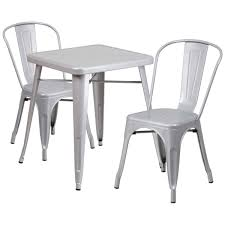 outdoor stack chairs. 23.75\u0027\u0027 Square Silver Metal Indoor-Outdoor Table Set With 2 Stack Chairs CH Outdoor H