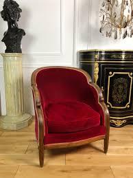 vintage art deco furniture. Vintage Art Deco Chair In Wood And Red Velvet Furniture