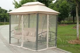 outdoor 3 person patio daybed canopy gazebo swing tan w mesh walls hammock chair in swings