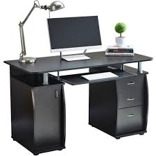 black computer desk. Interesting Black RayGar Black Computer Desk With Cabinet And 3 Drawers For Home Office PC  Study To