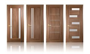image of solid wood interior doors with glass
