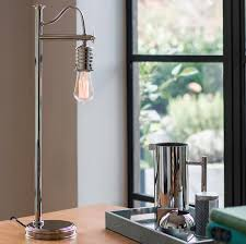 Elstead Douille 1 Light Table Lamp Polished Nickel Vintage Industrial