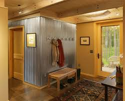 contemporary entry with corrugated sheet metal cushman design group