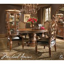 michael amini 5pc villa valencia round oval dining table set 4 round formal dining room furniture