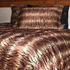 tiger print fur queen size doona duvet quilt cover set new animal main image