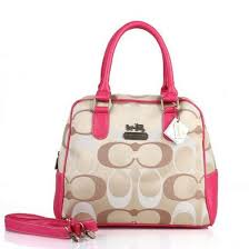 coach georgie in signature medium pink khaki satchels ety .