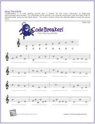 The treble clef is a symbol that is printed at the start of a line of sheet music to assign the lines and it is one of the most well known and recognisable musical symbols: Codebreaker Free Note Naming Worksheets The Piano Student