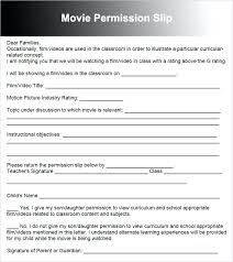 Permission Slip Template Fascinating Movie Permission Slip Template Generic Flybymediaco