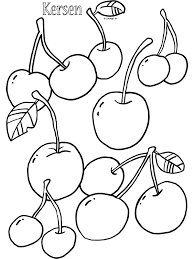 Kleurplaat Kersen Fruit Kleurplatennl
