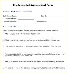 Self Evaluation Form Template Staff Evaluation Form Template