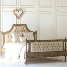 Wood And Upholstered Bed Tall Buttoned Bed Wooden Bed Frame With