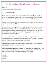 Nanny Recommendation Letter Sample