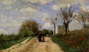 the path leading to the house 1854 camille corot