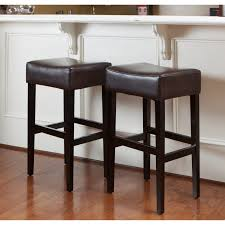 brown leather bar stools. Christopher Knight Home Lopez Brown Leather Backless Bar Stools (Set Of 2) - Walmart.com