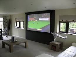 tensioned projection screen is use with the dark wall serving as a contrast enhancing background